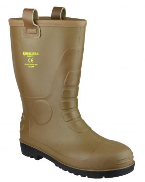 Amblers FS95 Tan Rigger Safety Wellingtons