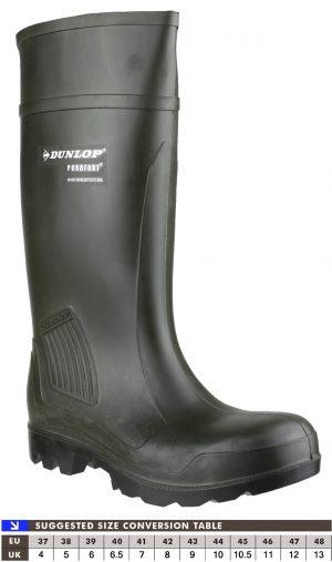 Dunlop Purofort Professional Full Safety Wellingtons (Green)